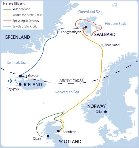 Map of Aurora's European Acrtic voyages