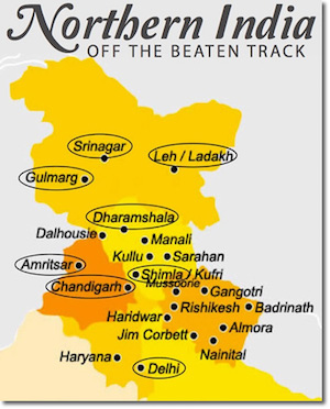 Northern India map